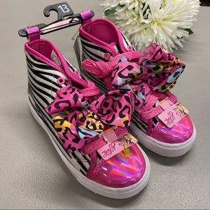 Jojo Siwa High Top Shoe Animal Zebra Print Pink 13